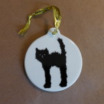 Christmas-ween ornament? I made this for my boyfriend, who loves fuzzy cats.