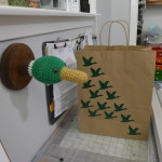 My duck gift bag I made with green vinyl